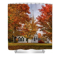 Shower Curtain featuring the photograph Salem Church In Autumn by Jeff Folger