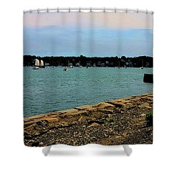 Salem Harbor Shower Curtain by Corinne Rhode