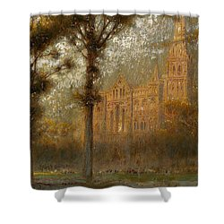 Salisbury Cathedral Shower Curtain by Albert Goodwin