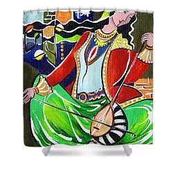 Sallaneh And Its Player Shower Curtain by Elisabeta Hermann