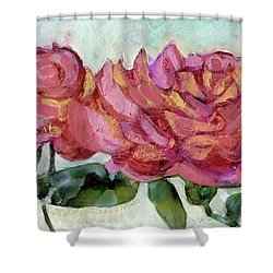 Salmon Colored Roses Shower Curtain