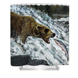 Salmon Fishing Shower Curtain by Don Olea