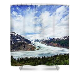 Salmon Glacier Shower Curtain by Heidi Brand