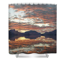 Shower Curtain featuring the digital art Salmon Lake Sunset by Mark Greenberg