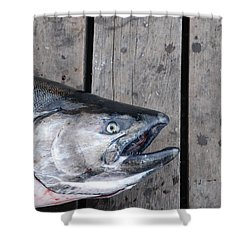 Salmon On Deck Shower Curtain