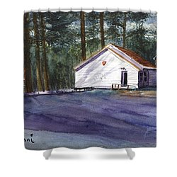 Shower Curtain featuring the painting Salmon River Grange by Chriss Pagani