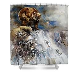 Salmon Run Shower Curtain by Mary McCullah