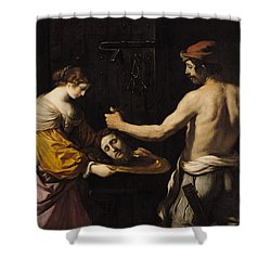 Salome Receiving The Head Of St John The Baptist Shower Curtain by Giovanni Francesco Barbieri