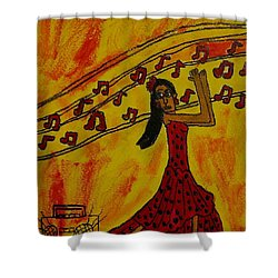 Shower Curtain featuring the painting Salsa Dancer by Artists With Autism Inc