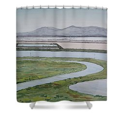 Salt Fields Shower Curtain by Bethany Lee
