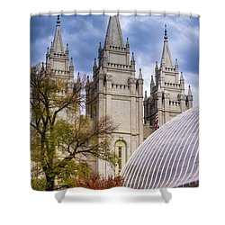 Salt Lake Lds Temple And Tabernacle - Utah Shower Curtain by Gary Whitton