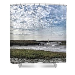 Salt Marsh And Creek, Brancaster Shower Curtain by John Edwards