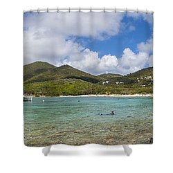 Shower Curtain featuring the photograph Salt Pond Bay Panoramic by Adam Romanowicz