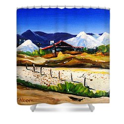 Salt Works - Port Alma Shower Curtain by Therese Alcorn