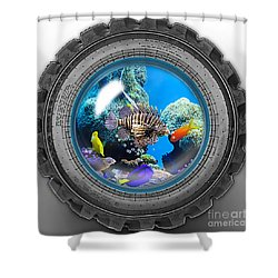 Saltwater Tire Aquarium Shower Curtain by Marvin Blaine
