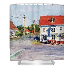 Salty Market, North Truro Shower Curtain by Peter Salwen