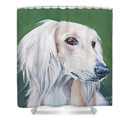 Shower Curtain featuring the painting Saluki Sighthound by Lee Ann Shepard