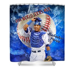 Salvador Perez 2015 World Series Mvp Shower Curtain by Colleen Taylor