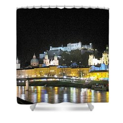 Salzburg At Night Shower Curtain by Betty Buller Whitehead