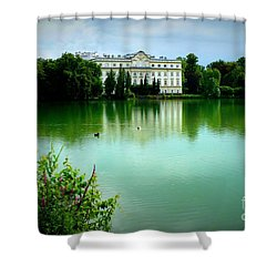Salzburg Home With Lake Shower Curtain by Carol Groenen