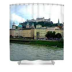 Salzburg Over The Danube Shower Curtain by Carol Groenen