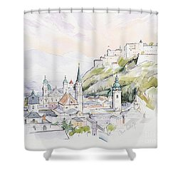 Salzburg Sunrise  Shower Curtain by Clive Metcalfe