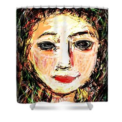 Shower Curtain featuring the digital art Samantha by Elaine Lanoue
