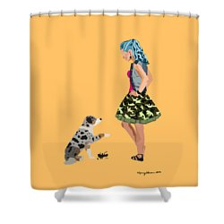 Shower Curtain featuring the digital art Samantha by Nancy Levan