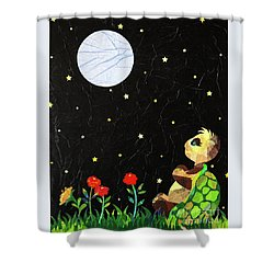 Shower Curtain featuring the mixed media Sammy's Solitude by Diane Miller