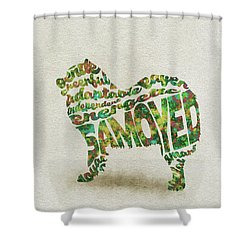 Shower Curtain featuring the painting Samoyed Watercolor Painting / Typographic Art by Inspirowl Design