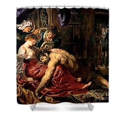 Samson And Delilah Shower Curtain by Peter Paul Rubens