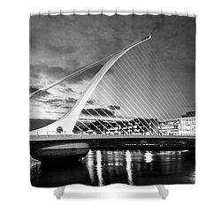 Samuel Beckett Bridge In Bw Shower Curtain