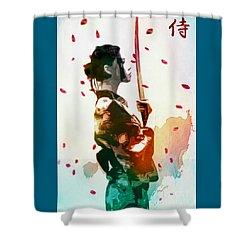 Samurai Girl - Watercolor Painting Shower Curtain