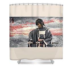 Samurai Warrior Shower Curtain by Ian Gledhill