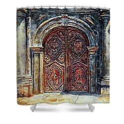 San Agustin Church Entrance Shower Curtain by Joey Agbayani