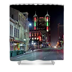 Shower Curtain featuring the photograph San Antonio Night Pano by Frozen in Time Fine Art Photography