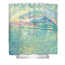 Shower Curtain featuring the painting San Antonio Riverwalk by Felipe Adan Lerma