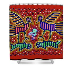 Shower Curtain featuring the digital art San Blas Kuna Bird Family With Fish by Vagabond Folk Art - Virginia Vivier