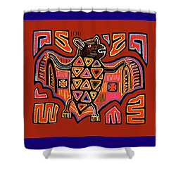 Shower Curtain featuring the digital art San Blas Kuna Indian Bat by Vagabond Folk Art - Virginia Vivier