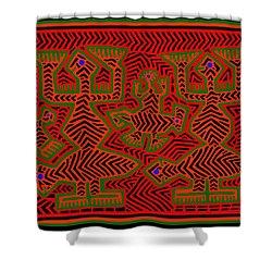 Shower Curtain featuring the digital art San Blas Shaman Spirits by Vagabond Folk Art - Virginia Vivier