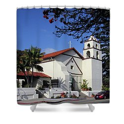 Shower Curtain featuring the photograph San Buenaventura Mission by Mary Ellen Frazee