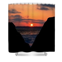 San Clemente Beach Rock View Sunset Portrait Shower Curtain