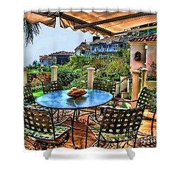 Shower Curtain featuring the digital art San Clemente Estate Patio by Kathy Tarochione