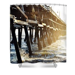 Shower Curtain featuring the photograph San Clemente Pier Magic Hour by Kyle Hanson