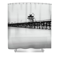 Shower Curtain featuring the photograph San Clemente Pier by Tassanee Angiolillo