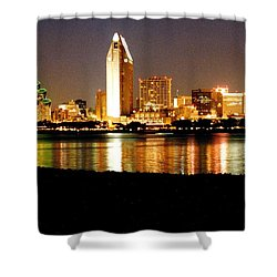 San Diego Skyline With Reflections On Mission Bay Shower Curtain