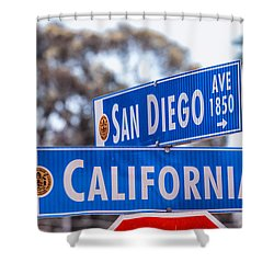 San Diego Crossing Over California Shower Curtain by Joseph S Giacalone