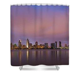 San Diego Skyline Shower Curtain by Adam Romanowicz