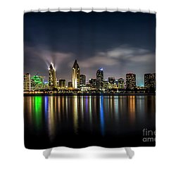 San Diego Skyline At Night Shower Curtain