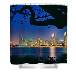 San Diego Skyline From Bay View Park In Coronado Shower Curtain by Sam Antonio